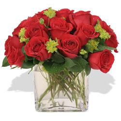 Kırklareli hediye sevgilime hediye çiçek  10 adet kirmizi gül ve cam yada mika vazo