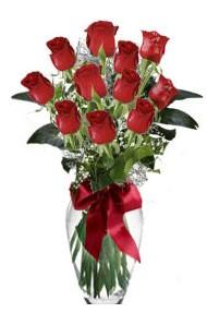11 adet kirmizi gül vazo mika vazo içinde  Kırklareli çiçek , çiçekçi , çiçekçilik