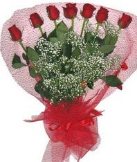 7 adet kipkirmizi gülden görsel buket  Kırklareli internetten çiçek satışı