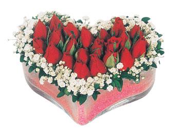 Kırklareli hediye sevgilime hediye çiçek  mika kalpte kirmizi güller 9