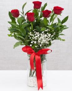 cam vazo içerisinde 5 adet kırmızı gül  Kırklareli çiçekçi telefonları