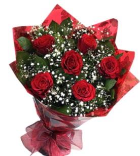 6 adet kırmızı gülden buket  Kırklareli çiçek siparişi vermek
