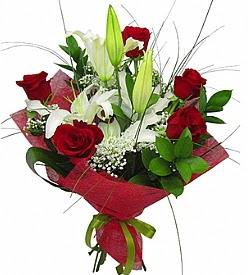 1 dal kazablanka 5 kırmızı gül buketi  Kırklareli çiçekçiler
