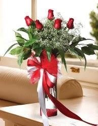 Camda 5 kırmızı gül tanzimi  Kırklareli hediye sevgilime hediye çiçek