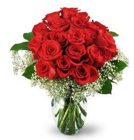 25 adet kırmızı gül cam vazoda  Kırklareli çiçek servisi , çiçekçi adresleri