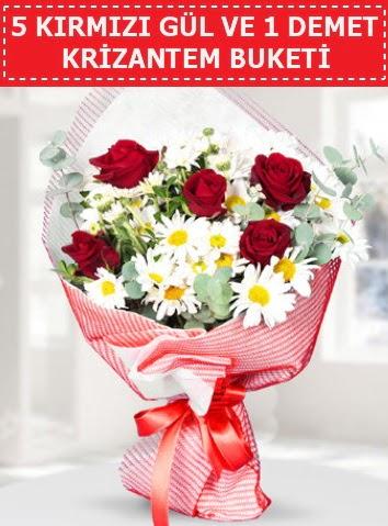 5 adet kırmızı gül ve krizantem buketi  Kırklareli çiçek online çiçek siparişi