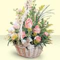 Kırklareli çiçek , çiçekçi , çiçekçilik  sepette pembe güller