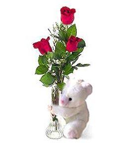 oyuncak ve 3 adet gül  Kırklareli yurtiçi ve yurtdışı çiçek siparişi