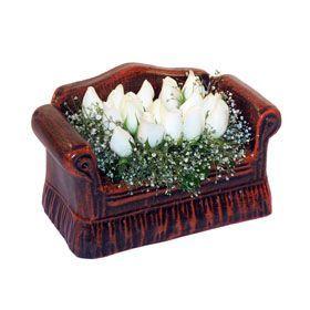 seramik içerisinde 11 gül  Kırklareli kaliteli taze ve ucuz çiçekler