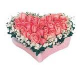 kalp içerisinde 9 adet pembe gül  Kırklareli çiçek online çiçek siparişi