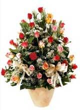 91 adet renkli gül aranjman   Kırklareli uluslararası çiçek gönderme