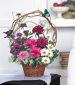 Kırklareli çiçekçi telefonları  sepet içerisinde karanfil gerbera ve kir çiçekleri
