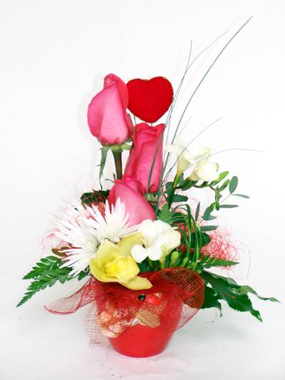 Kırklareli çiçek mağazası , çiçekçi adresleri  cam içerisinde 3 adet gül ve kir çiçekleri