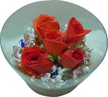 Kırklareli çiçek , çiçekçi , çiçekçilik  5 adet gül ve cam tanzimde çiçekler