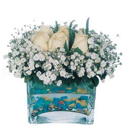Kırklareli güvenli kaliteli hızlı çiçek  mika yada cam içerisinde 7 adet beyaz gül