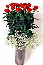 Kırklareli çiçek gönderme  9 adet kirmizi gül cam yada mika vazoda
