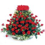 Kırklareli çiçekçiler  41 adet kirmizi gülden sepet tanzimi
