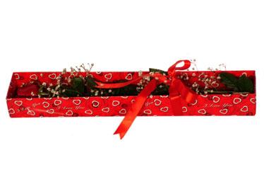 Kırklareli hediye sevgilime hediye çiçek  kutu içerisinde 1 adet kirmizi gül