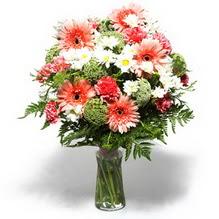 Kırklareli çiçek yolla , çiçek gönder , çiçekçi   cam yada mika vazo içerisinde karisik demet çiçegi