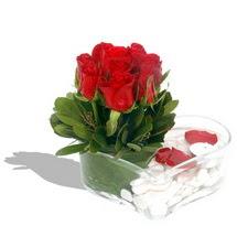 Mika kalp içerisinde 9 adet kirmizi gül  Kırklareli çiçek siparişi sitesi