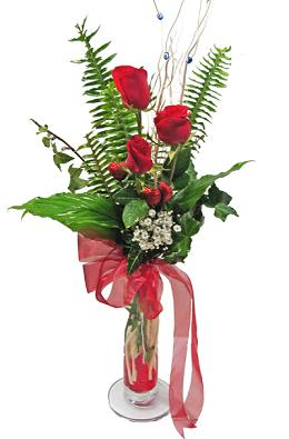 Çiçek gönderin cam vazoda 3 gül çiçekleri  Kırklareli yurtiçi ve yurtdışı çiçek siparişi