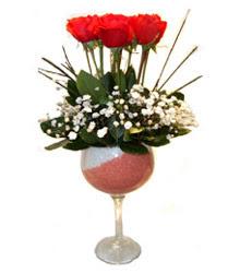 Kırklareli çiçek yolla , çiçek gönder , çiçekçi   cam kadeh içinde 7 adet kirmizi gül çiçek