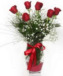 7 adet gülden cam içerisinde güller  Kırklareli çiçek , çiçekçi , çiçekçilik