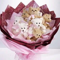9 adet ayiciktan buket  Kırklareli İnternetten çiçek siparişi
