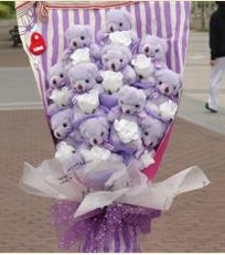 11 adet pelus ayicik buketi  Kırklareli uluslararası çiçek gönderme