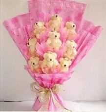 9 adet pelus ayicik buketi  Kırklareli ucuz çiçek gönder