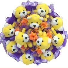 11 adet pelus ayicik buketi  Kırklareli internetten çiçek satışı