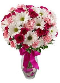 Kırklareli yurtiçi ve yurtdışı çiçek siparişi  Karisik mevsim kir çiçegi vazosu