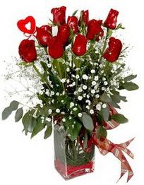 Kırklareli çiçek gönderme sitemiz güvenlidir  9 adet mika yada cam vazoda gül tanzimi kalp çubuk