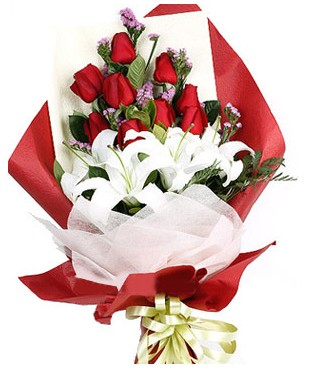 Kırklareli çiçek yolla , çiçek gönder , çiçekçi   1 dal kazablankaa 9 adet kırmızı gül buketi