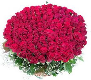 Kırklareli online çiçek gönderme sipariş  100 adet kırmızı gülden görsel buket