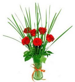 Kırklareli çiçek servisi , çiçekçi adresleri  6 adet kırmızı güllerden vazo çiçeği