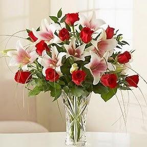 Kırklareli internetten çiçek satışı  12 adet kırmızı gül 1 dal kazablanka çiçeği