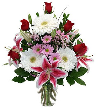 Kırklareli internetten çiçek satışı  1 dal kazablanka 5 gül ve kırçiçeği vazosu