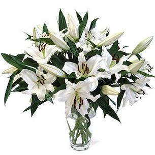 Kırklareli hediye sevgilime hediye çiçek  3 dal görsel casablanca vazo tanzimi