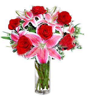 Kırklareli 14 şubat sevgililer günü çiçek  1 dal cazablanca ve 6 kırmızı gül çiçeği