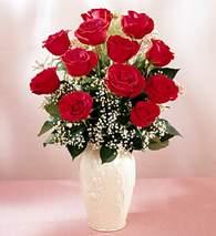 Kırklareli güvenli kaliteli hızlı çiçek  9 adet vazoda özel tanzim kirmizi gül