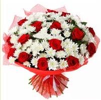 11 adet kırmızı gül ve beyaz kır çiçeği  Kırklareli online çiçekçi , çiçek siparişi