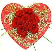 Mika kalp içerisinde 7 adet kırmızı gül  Kırklareli güvenli kaliteli hızlı çiçek