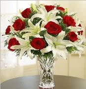 12 adet kırmızı gül 2 dal kazablanka vazosu  Kırklareli çiçek online çiçek siparişi