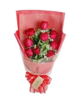 9 adet kırmızı gülden görsel buket  Kırklareli çiçek mağazası , çiçekçi adresleri