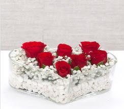 kalp içerisinde 7 adet kırmızı gül  Kırklareli çiçek gönderme sitemiz güvenlidir