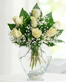 Cam içerisinde 7 adet beyaz gül  Kırklareli çiçekçi telefonları