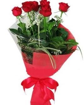5 adet kırmızı gülden buket  Kırklareli çiçekçiler