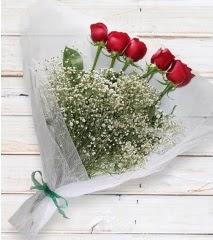 5 kırmızı gülden sade buket  Kırklareli 14 şubat sevgililer günü çiçek
