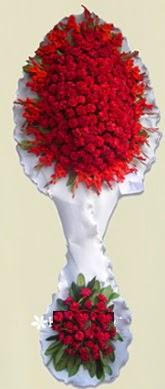 Çift katlı kıpkırmızı düğün açılış çiçeği  Kırklareli ucuz çiçek gönder